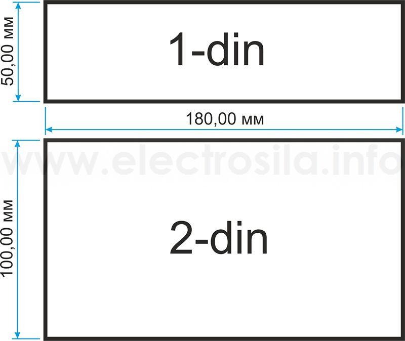размер магнитолы 1din 2din