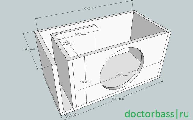 чертеж корпуса для сабвуфера